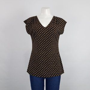 Banana Republic Chain Print Brown Top Size M